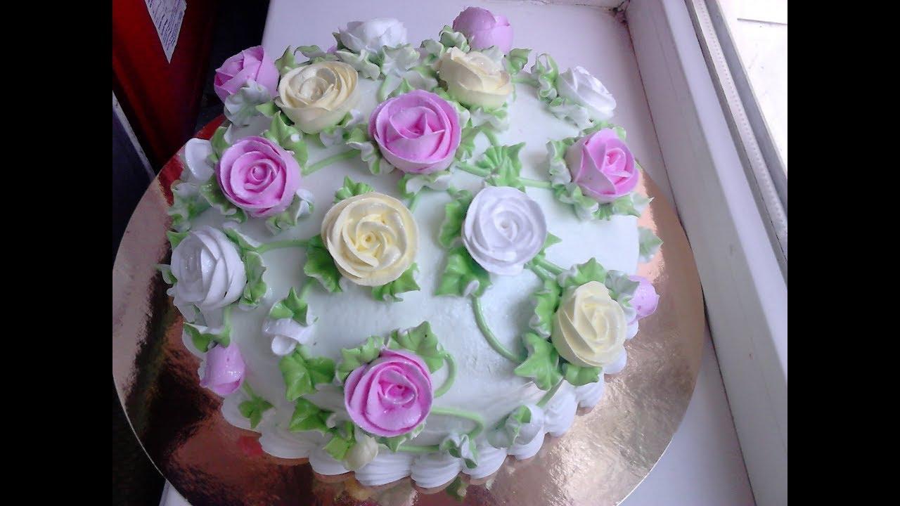 Быстрое оформление торта с розами