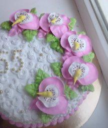 оформление торта с орхидеями